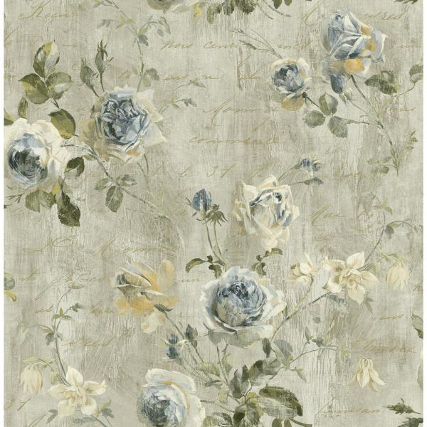 Seabrook Designs Charleston Floral Steel Gray and Denim Calligraphy Wallpaper