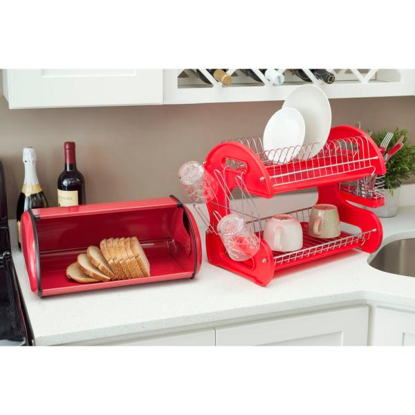 Bread Bin Holder For Easy Kitchen Counter Storage Red Home Basics Stainless Steel Bread Box With Roll Up Lid Storage Organization Kitchen Dining Yerlidusunce Com