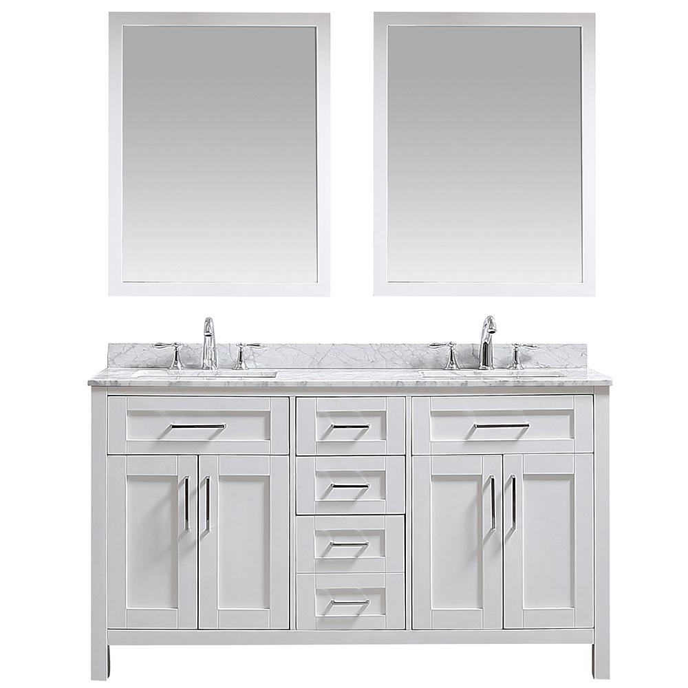 Ove Tahoe 60 In. W X 24.6 In. D Vanity In White With Carrara Marble Vanity Top In White With White Basin And Mirror by Ove Decors