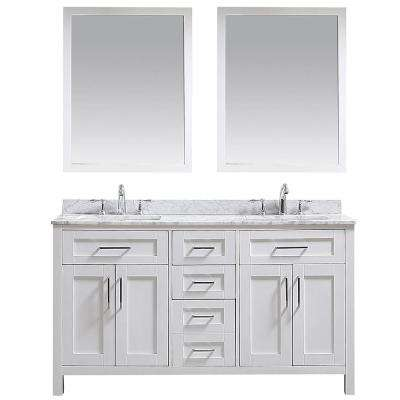 OVE Tahoe 60 in. W Vanity in White with Carrara Marble Vanity Top in White with White Basins and Mirrors