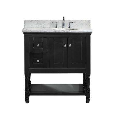 Julianna 36 in. W Bath Vanity in Espresso with Marble Vanity Top in White with Round Basin
