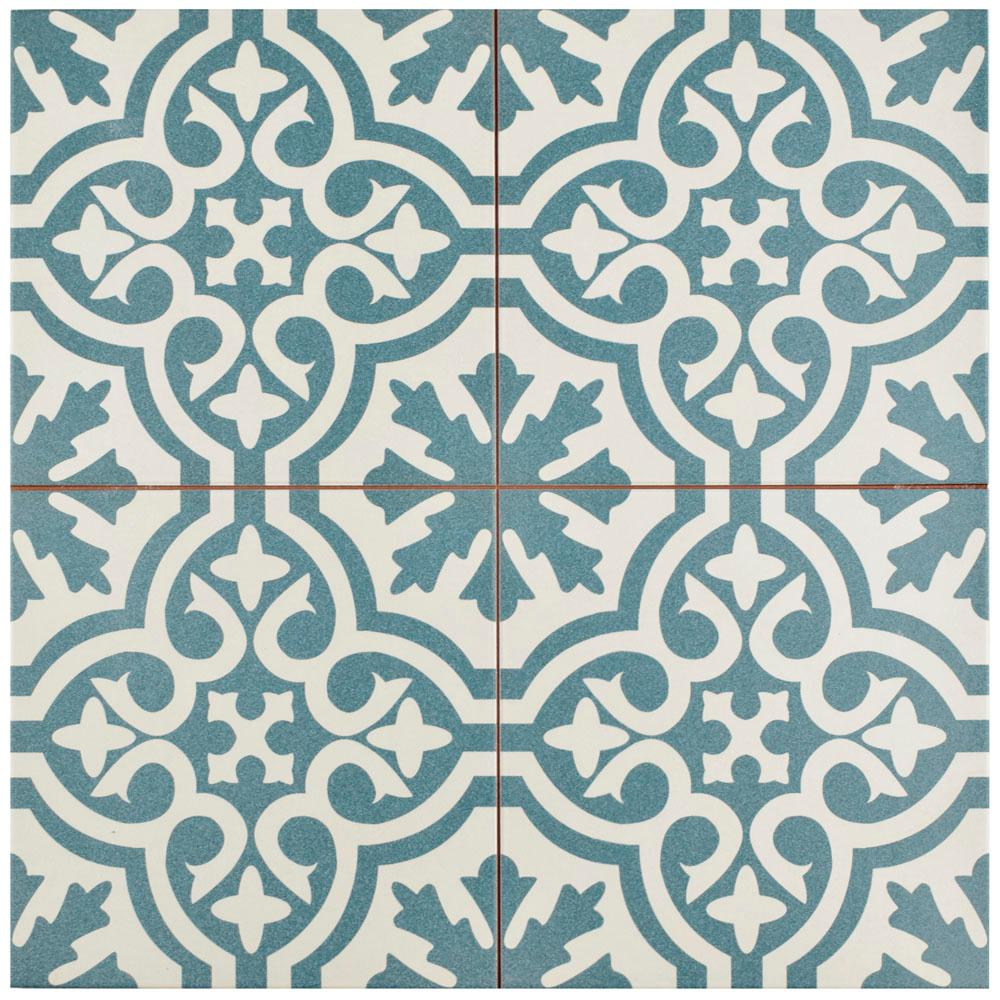 Merola Tile Berkeley Blue Encaustic 17 5 8 In X Ceramic Floor And Wall 11 1 Sq Ft Case Fpebrkb The Home Depot