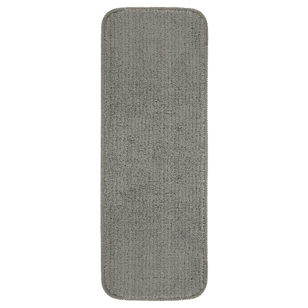 Ottomanson Softy Collection Dark Grey 9 in. x 26 in. Rubber Back Stair Tread Cover (Set of 14)