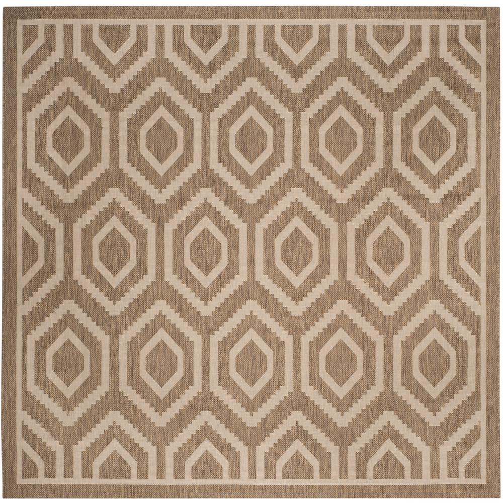 Courtyard Brown/Bone 8 ft. x 8 ft. Indoor/Outdoor Square Area Rug
