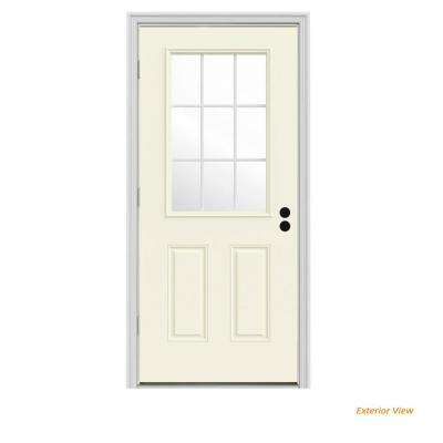 30 in. x 80 in. 9 Lite Vanilla Painted Steel Prehung Right-Hand Outswing Front Door w/Brickmould