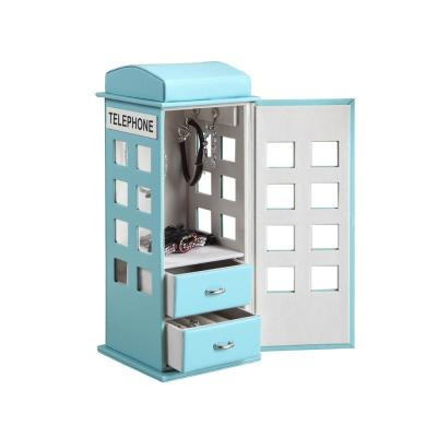 11.5 in. British Telephone Booth Blue Pastel Jewelry Box