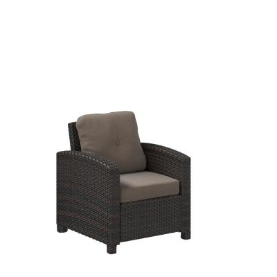Miles Stationary Wicker Outdoor Lounge Chair with Beige Cushion
