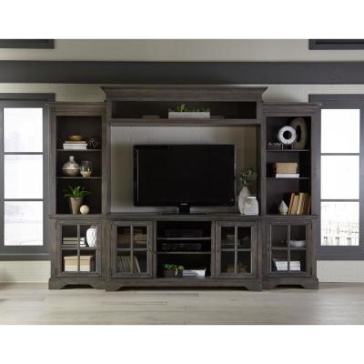 Dillworth 20 in. Storm Wood Entertainment Center Fits TVs Up to 55 in. with Wall Panel