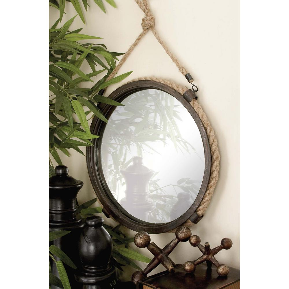 litton lane 2 piece rustic round braided rope and iron framed mirror set 93934 the home depot. Black Bedroom Furniture Sets. Home Design Ideas