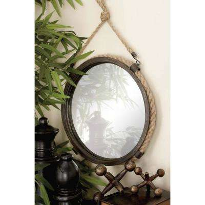 2-Piece Rustic Round Braided Rope and Iron Framed Mirror Set