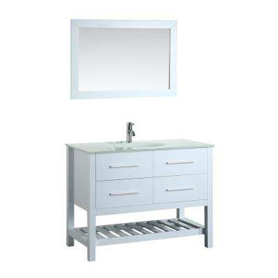 Bosconi 43 in. W Single Bath Vanity in White with Tempered Glass Vanity Top in White with White Basin and Mirror