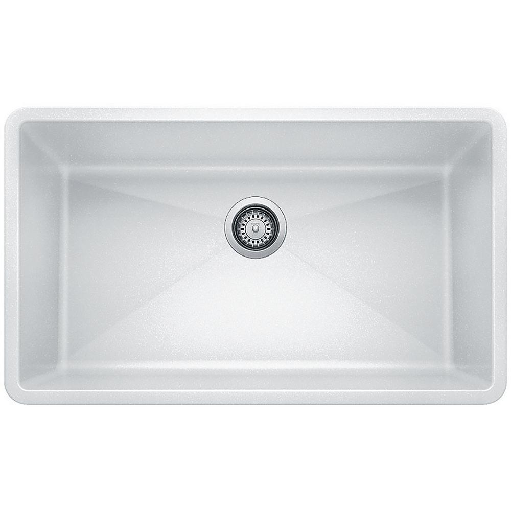 Blanco PRECIS Undermount Granite Composite 32 in. Single Bowl Kitchen Sink  in White