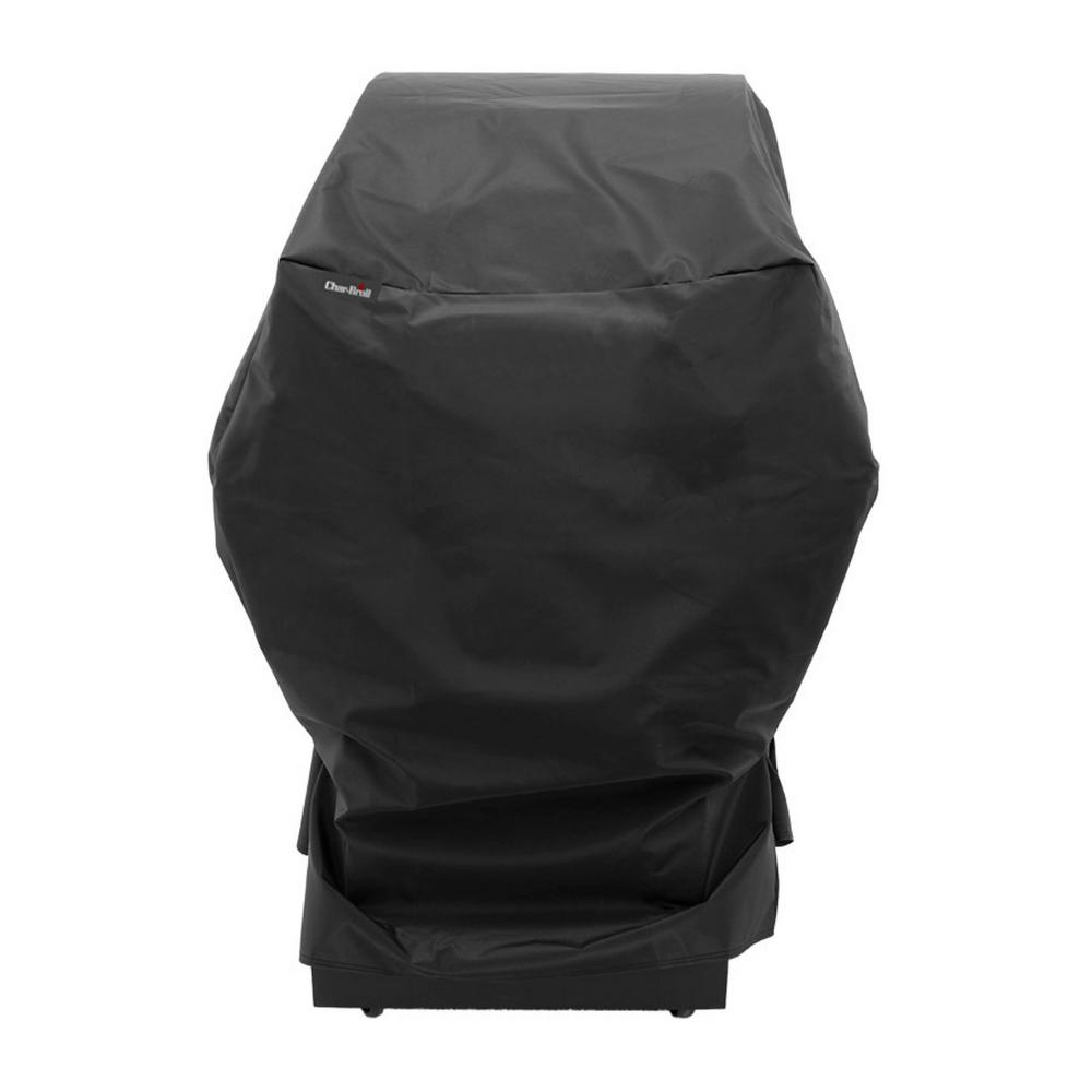 Char-Broil Small Grill and Smoker Performance Grill Cover, Black Designed to fit small gas grills, charcoal grills and smokers up to 32 in. W. Heavy-Duty Premium Small Grill/Smoker Cover. 18 mil thickness polyester fabric with Sun Fade Protective Liner. UV Protection for Fade resistance. Sealed Seams for water resistance. Color: Black.