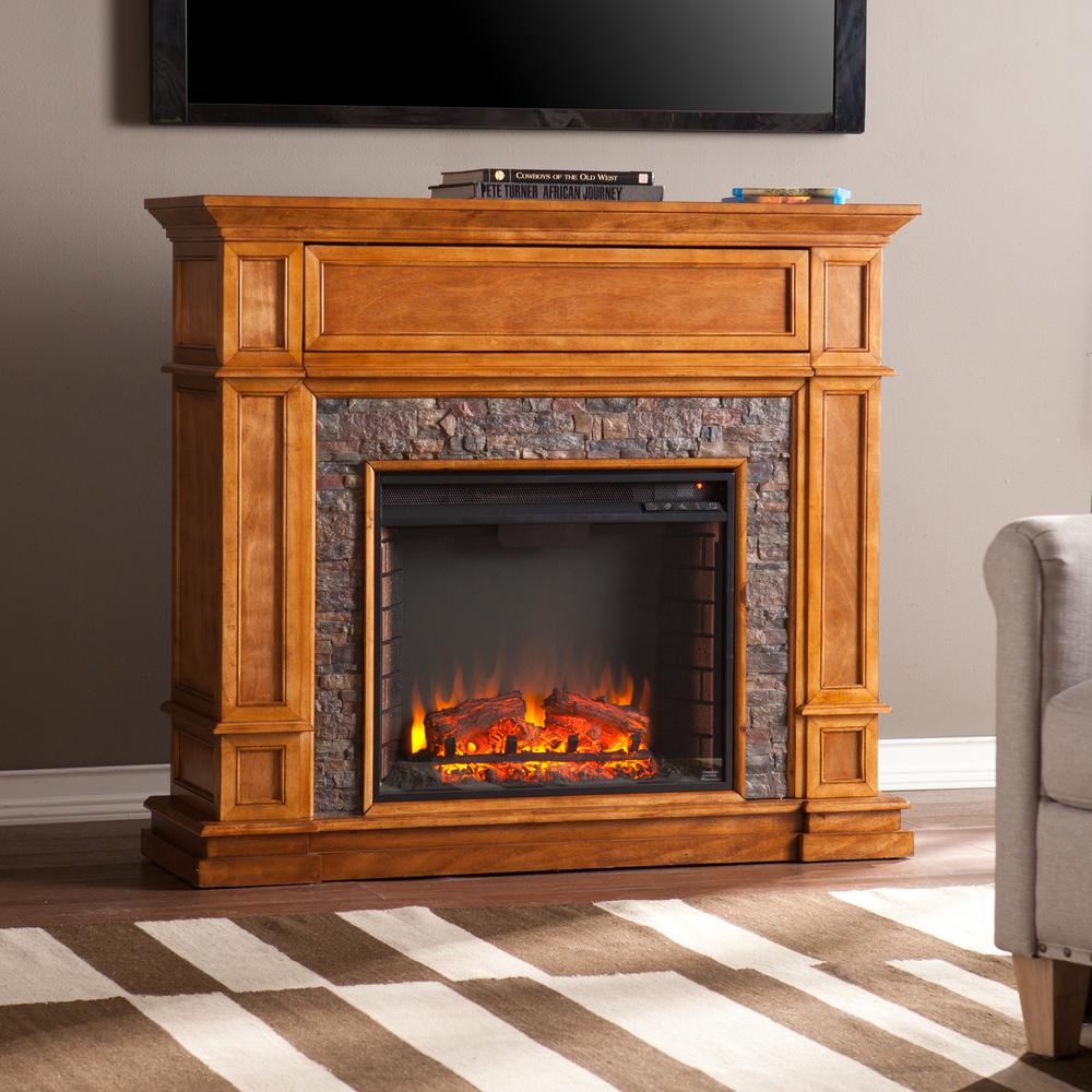 Southern Enterprises Auburn 45.5 In. W Faux Stone Media Fireplace In Brown  Sienna
