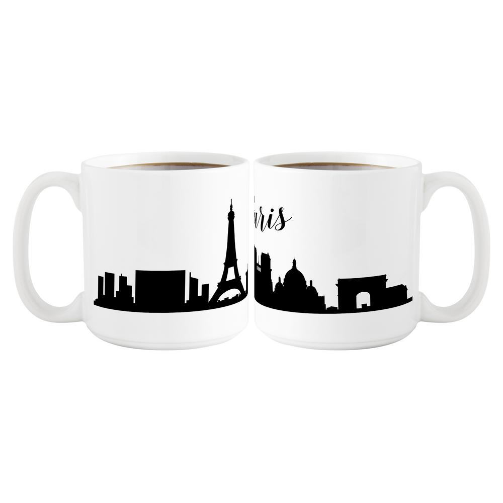 Cathy S Concepts Paris Skyline 20 Oz White Ceramic Coffee