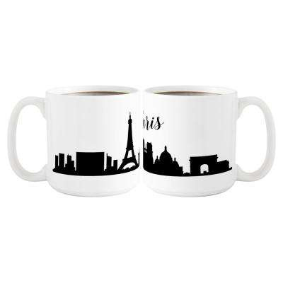Paris Skyline 20 oz. White Ceramic Coffee Mugs (Set of 2)