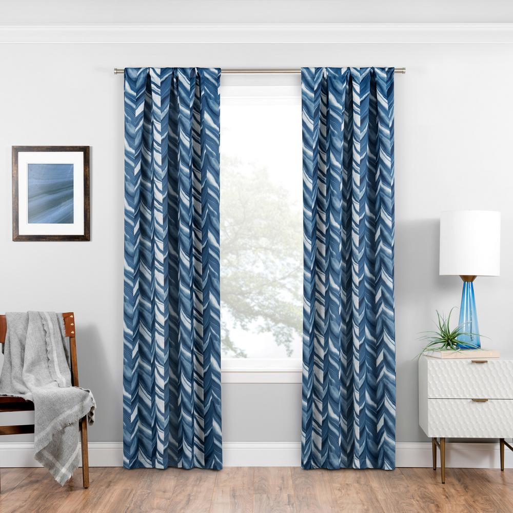 Eclipse Haley Blackout Window Curtain Panel in Indigo - 37 in. W x 95 in. L