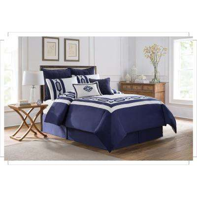 Soho New York Hotel Embroidery 8-Piece Blue Queen Comforter Set