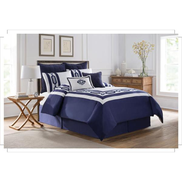 Royal Heritage Home Soho New York Hotel Embroidery 8 Piece Blue Queen Comforter Set