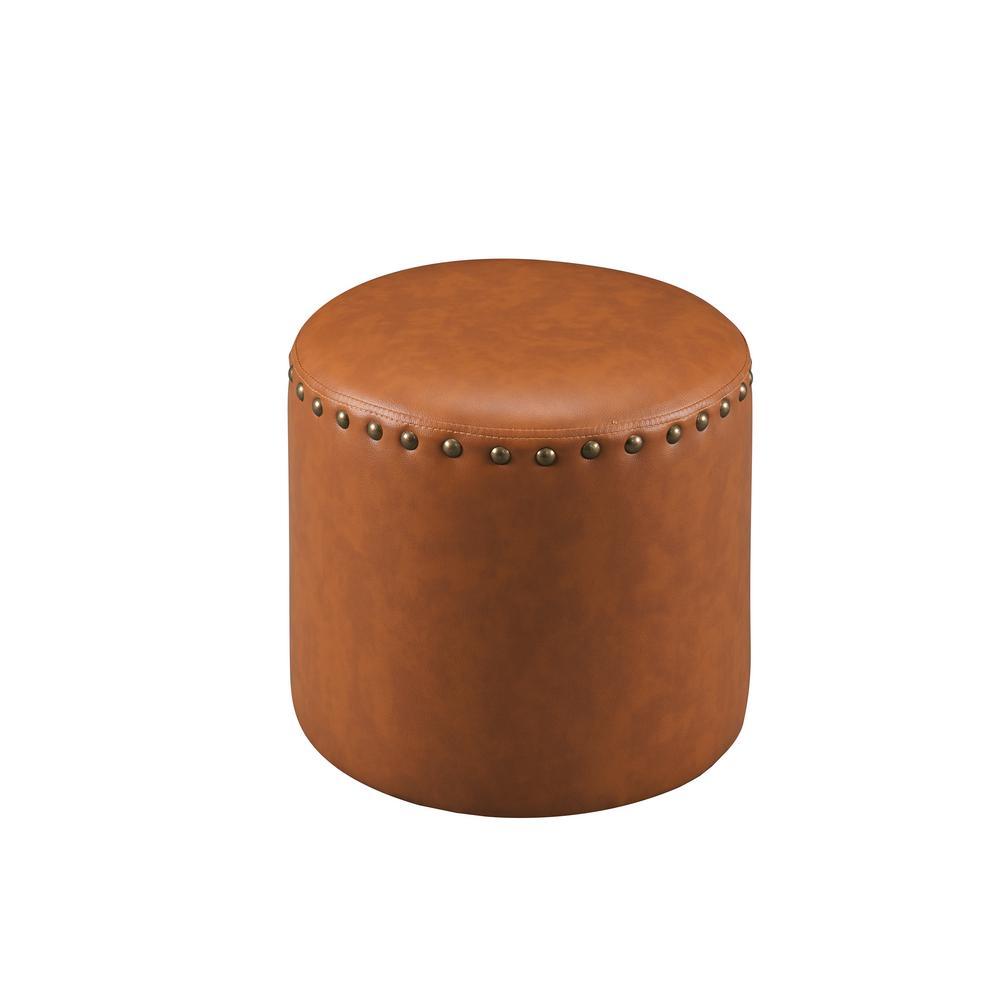 Brown Nailhead Trim Faux Leather Round Ottoman