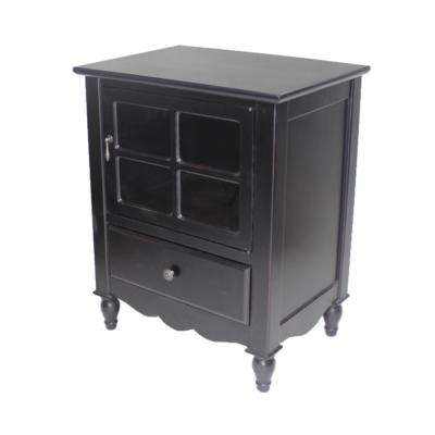 Shelly Assembled 22.5 in. x 22.5 in. x 16 in. Black Wood Glass Accent Storage Cabinet