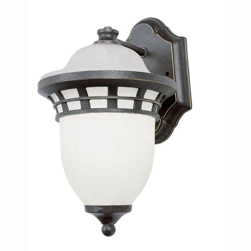 Bel Air Lighting Energy Saving 1-Light Outdoor Bronze Coach Lantern with Frosted Glass