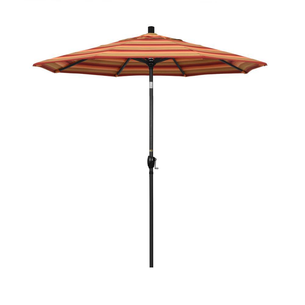 7.5 ft. Stone Black Aluminum Push Button Tilt Crank Lift Patio Umbrella in Astoria Sunset Sunbrella