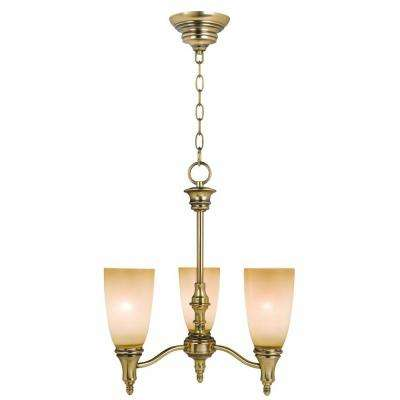Keswick 3-Light Brushed Brass Mini Chandelier with Toned Amber Glass Shade