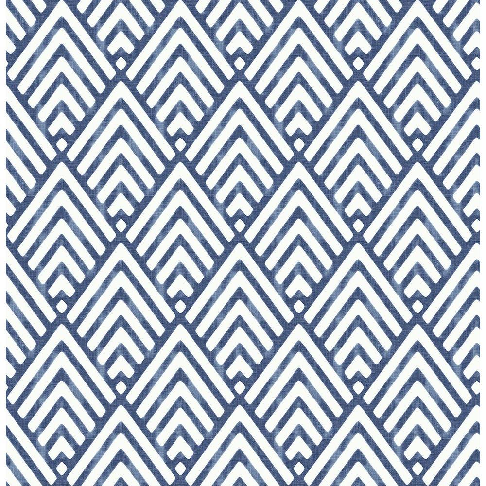 Vertex Indigo Blue Diamond Geometric Wallpaper Sample