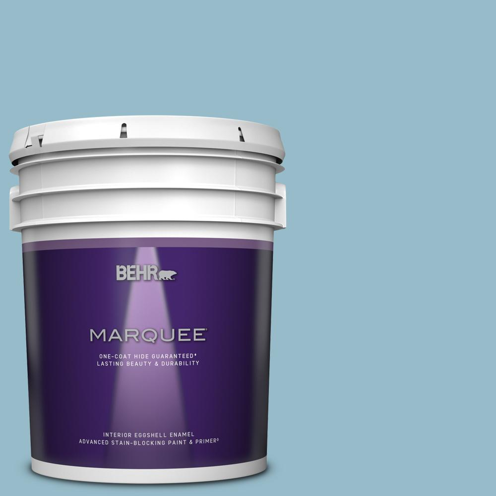 Behr Marquee 5 Gal S480 3 Sydney Harbour One Coat Hide Eggshell Enamel Interior Paint And Primer In One 245005 The Home Depot