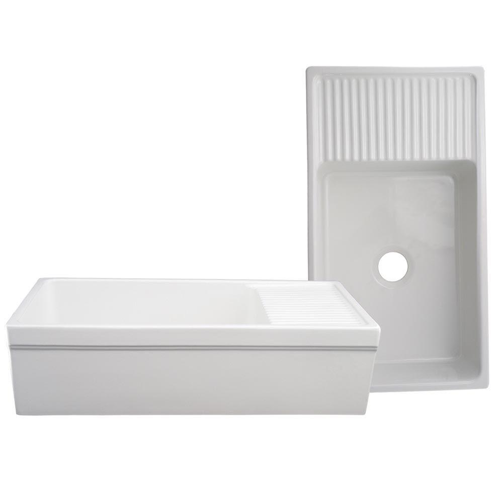 Whitehaus Collection Quatro Alcove Reversible Series Farmhaus Farmhouse Apron Front Fireclay 36 In Single Bowl Kitchen Sink In White Whqd540 Wh The Home Depot