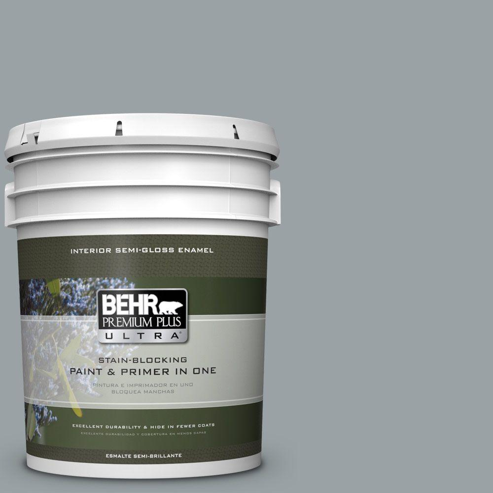 5 gal. #HDC-SM16-02 River Rock Grey Semi-Gloss Enamel Interior Paint