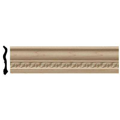3-3/4 in. x 96 in. x 5-1/2 in. Unfinished Wood Cherry Lanarkshire Carved Crown Moulding