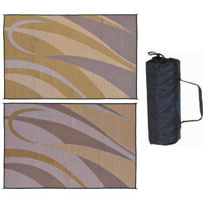 8 ft. x 12 ft. Graphic Brown/Gold Polypropylene Outdoor Reversible Patio RV Mat