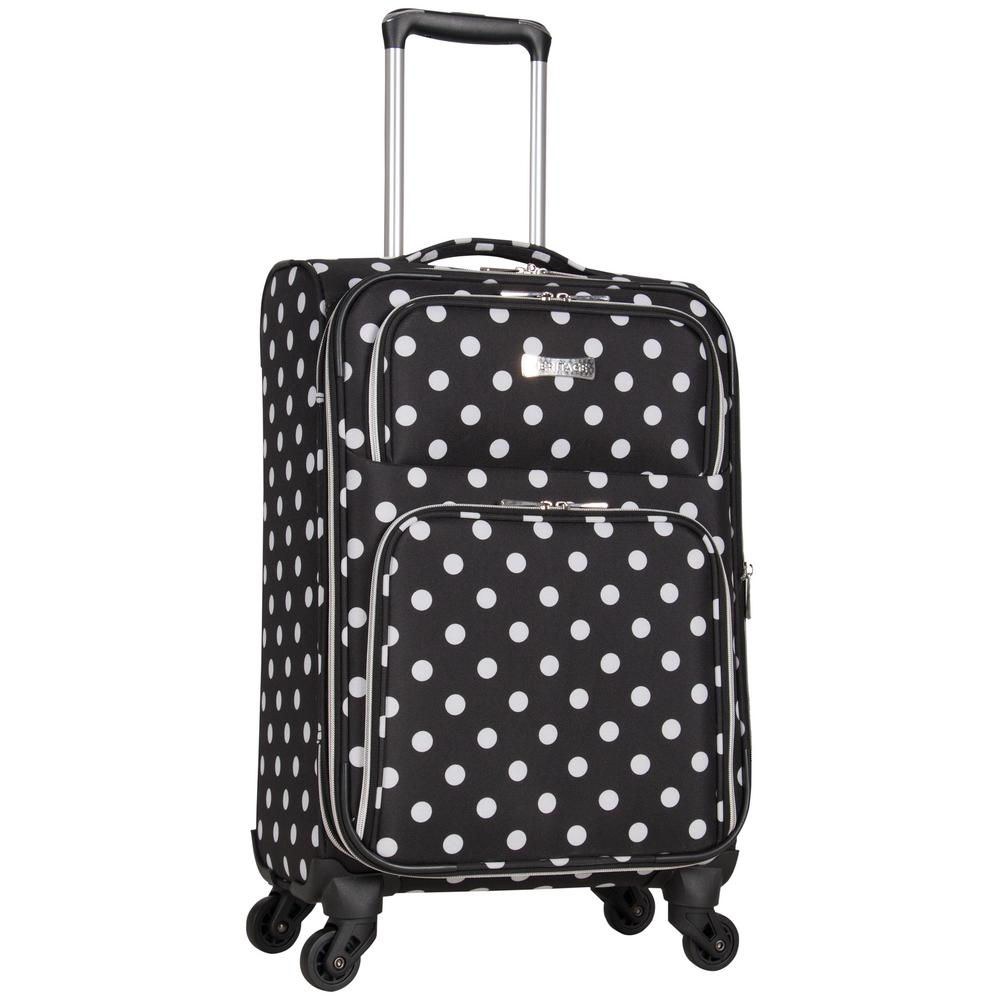Albany Park 20 in. Lightweight Black/White Polka Dot Printed Expandable 4-Wheel
