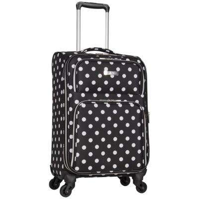 Albany Park 20 in. Lightweight Black/White Polka Dot Printed Expandable 4-Wheel Carry-On Luggage