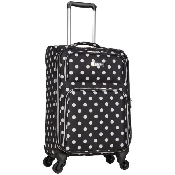e8748e2f7 Lightweight Black/White Polka Dot Printed Expandable 4-Wheel Carry-On  Luggage
