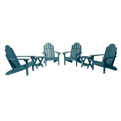 Classic Wesport Nantucket Blue 6-Piece Plastic Patio Fire Pit Seating Set
