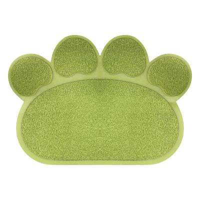 Nonslip Food and Litter Pawprint Mat in Green