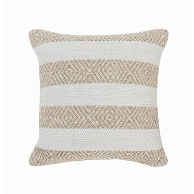 Rivera Tan / White Geometric Stripped Casual Poly-fill 18 in. x 18 in. Throw Pillow