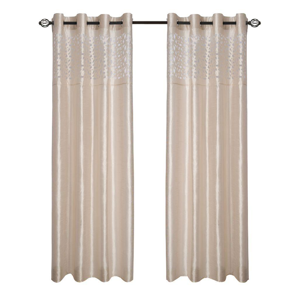 Lavish Home Beige Karla Laser-Cut Grommet Curtain Panel