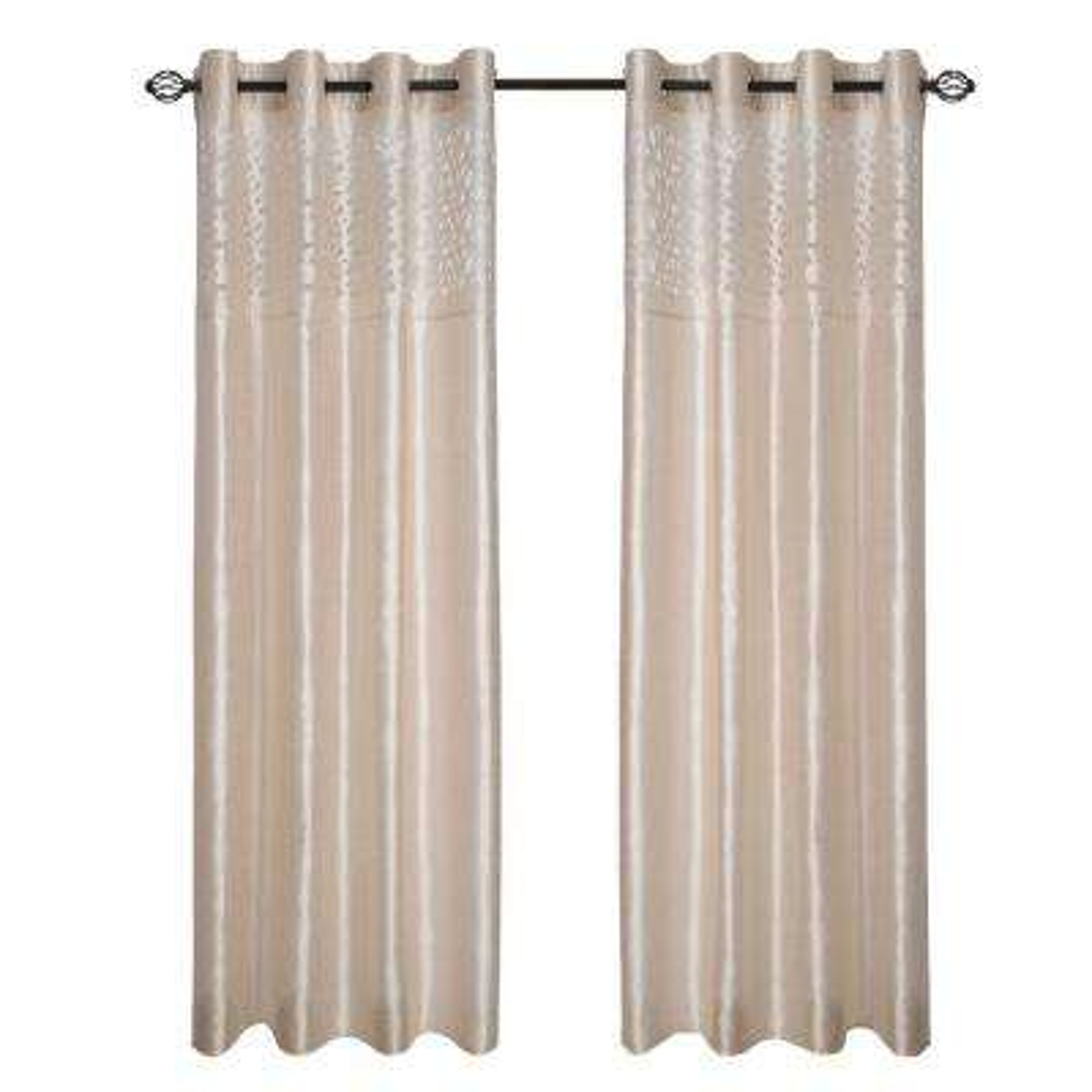 Beige Karla Laser-Cut Grommet Curtain Panel, 108 in. Length