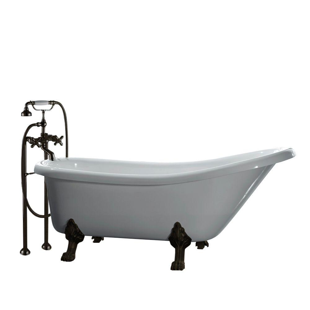 All-In-One 5.5 ft. Acrylic Oil Rubbed Bronze Clawfoot Slipper Tub in