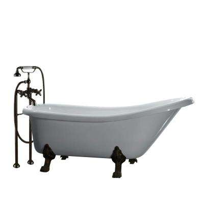 All-In-One 66 in. Acrylic Oil Rubbed Bronze Clawfoot Slipper Tub in White