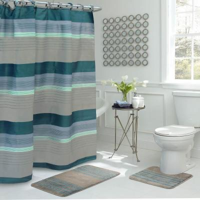 Regent Stripe 30 in. L x 18 in. W 15-Piece Bath Rug and Shower Curtain Set in Blue and Grey