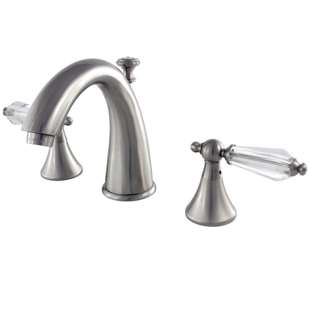Modern Crystal 8 in. Widespread 2-Handle High-Arc Bathroom Faucet in Satin Nickel