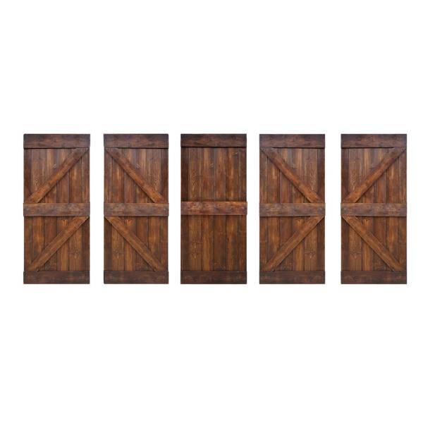 Wellhome 36 In X 84 In K Series Diy Dark Walnut Finished Knotty Pine Wood Sliding Barn Door Slab With Hardware Kit Sdk 79 Dwb36 D The Home Depot