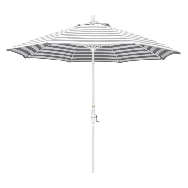 9 ft. Fiberglass Market Collar Tilt Matte White Patio Umbrella in Gray White Cabana Stripe Olefin