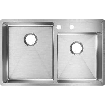 Crosstown Water Deck Undermount Stainless Steel 33 in. Double Bowl Kitchen Sink