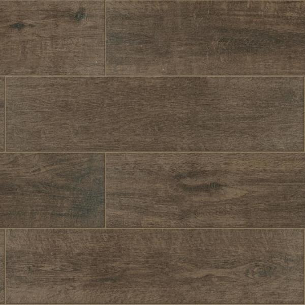 Meadow Wood Deep Brown 6 in. x 24 in. Glazed Porcelain Floor and Wall Tile (15 sq. ft. / case)